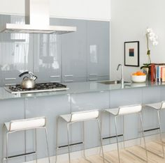 Glass kitchen interior.  Yes!