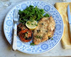 Lavender and Lovage | Tasty Low-Calorie 5:2 Diet Recipe: Garlic, Herb and Parmesan Crusted Chicken Schnitzels | http://www.lavenderandlovage.com