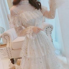 2019 Brand New Stars Sequins Mesh Dress Ruffles Stand Collar Layered Cake Dress Sweet Fairy Mesh Dress Midi Dress Vestidos Sequin Mesh Dress, Ruffle Dress, Ruffles, Sequin Prom Dresses, Wedding Dresses, Pretty Dresses, Beautiful Dresses, Gorgeous Dress, Vintage Outfits