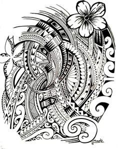 Jooli Dessin pour Tatouage Polynésien composé de plus d'une centaine de lignes aux symboles