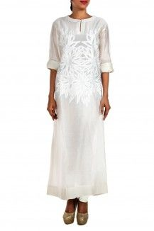 White Floral Embroidered Kurta By Samant Chauhan  Rs. 12,000