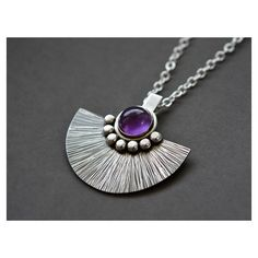 Sterling silver necklace with amethyst. Sterling silver pendant with... ($110) via Polyvore featuring jewelry, necklaces, silver necklace, long sterling silver necklace, sterling silver chain necklace, long chain necklace and chain necklaces