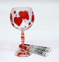 Hand painted Valentine glass with Marabu Porcelain & Glas Fineliners available at Ben Franklin Crafts and Frame Shop in Bonney Lake Wa