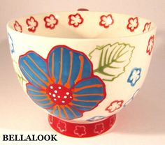 DUTCH WAX BY COASTLINE IMPORTS FLORAL BLUE RED HAND PAINTED CERAMIC MUG CUP #DUTCHWAX