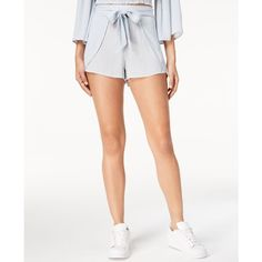 American Rag Juniors' Printed Tie-Front Soft Shorts, Created for... ($40) ❤ liked on Polyvore featuring shorts, cream combo, striped shorts, tulip shorts, relaxed fit shorts, stripe shorts and american rag cie