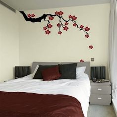 Cherry Blossom Wall Art Decal (Top 10 Creative Bedroom Wall Art Stickers)