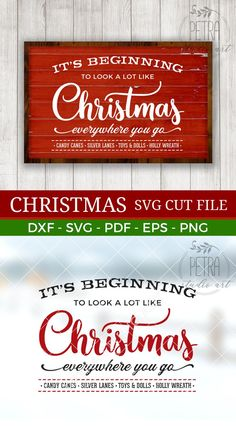 It's Beginning To Look a Lot Like Christmas Svg Cut File and Printable for Rustic Christmas Home Decor. Personal and small business use - Vincent Bennett Christmas Signs Wood, Noel Christmas, Country Christmas, Christmas Projects, Winter Christmas, All Things Christmas, Holiday Crafts, Christmas Decorations, Xmas