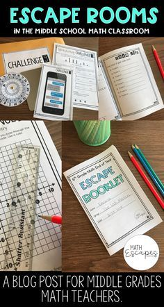 Math Escapes : Escape Room Style Activities in the Middle School Math Classroom. Bring collaboration and competition to your classroom by putting your students to the task of completing challenges to unlock puzzles!
