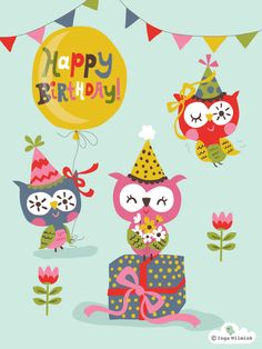 inga wilmink | Owls Illustration - Happy Birthday - Inga Wilmink