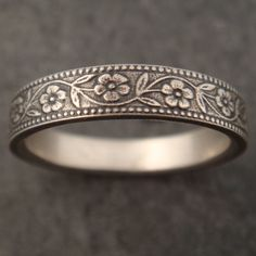 Floral Wedding Band (or engagement ring, it's so pretty) in White Gold
