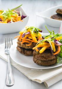 Curried Beef Burgers with a Mango Cabbage Slaw Recipe
