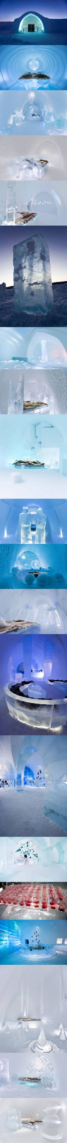 Every winter, artists from around the world gather in Jukkasjärvi, northern Sweden, for an art project that has become known as ICEHOTEL. It is the world's first and largest hotel built of snow and ice.--> this is amazing! Oh The Places You'll Go, Places To Travel, Places Ive Been, Ice Hotel Sweden, Ice Houses, Snow Sculptures, Lappland, Arctic Circle, Quebec City