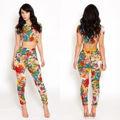 SEXY HOT WOMEN'S FLOWERS PRINT BANDAGE BODYCON JUMPSUITS PARTY CLUBWEAR DRESS