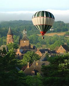 Overview of the village of Collonges la Rouge in Corrèze, Limousin, France Limousin, Balloon Rides, Hot Air Balloon, Air Ballon, The Places Youll Go, Places To Visit, Beautiful World, Beautiful Places, Beaux Villages