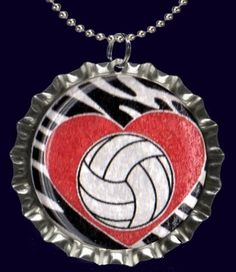 Zebra Red Heart Volleyball Necklace by forjoplin on Etsy, $5.00