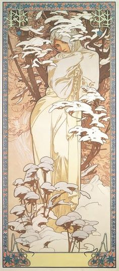 Winter personified peers out from the folds of her gown, the pale silk offset by the brilliance of the fresh snow. Using a sepia palette and sinuous line, Mucha entangles his muse in the twines of nature. His trademark decorative frame presents the scene as neither a landscape nor a portrait, but as an emblem of the season.