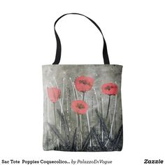 Sac Tote  Poppies Coquecolicots byPatrizia Palazzo Black Tote Bag, Palazzo, Poppies, Reusable Tote Bags, Toile, Bag, Poppy, Palace, Poppy Flowers