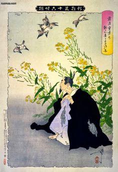 Tsukioka Yoshitoshi - A devoção de Fujiwara pelos pardais