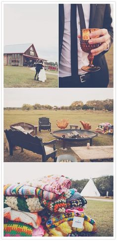 A fire pit is a necessity for any outdoor party. Providing blankets for guests is a great idea.