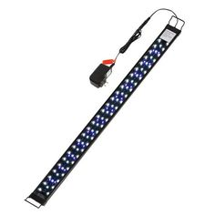 30-38In Aquarium Hood Lamp with Extendable Bracket Fish Tank Strip Lights 20W 100 Leds(Blue White and Yellow) for Fresh and Slat Water