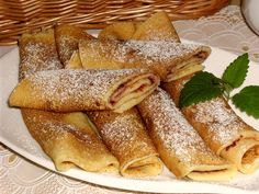 Palacinky - Slovak Crepes recipe - from the The Nedostup Family Cookbook Project Family Cookbook Czech Recipes, Ethnic Recipes, Eastern European Recipes, Yummy Cookies, Crepes, I Love Food, Sweet Recipes, Baking Recipes, Brunch