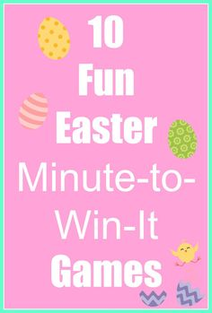 10 Fun and Easy Easter Minute-to-Win-It Games Easter Egg Hunt Games, Easter Party Games, Easter Games For Kids, Easter Activities, Church Activities, Spring Activities, Holiday Activities, Classroom Activities, Toddler Activities
