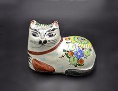 Tonala Mexico Cat Figurine, Floral Cat