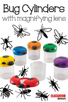 These jars make it fun to collect and study insects! The bug wings on top open to reveal a magnifying lens for up-close observation.