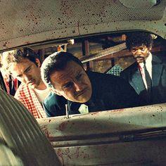 Quentin Tarantino, Harvey Keitel & Samuel L. Jackson in Pulp Fiction
