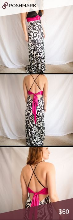 B. Darlin Prom Dress Black and white pattern from dress with hot pink tie. Worn once. Great Condition. Like new. B Darlin Dresses Prom