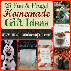 Starting to think about the upcoming holidays? Are you going to be making homemade gifts for some of the people on your list this years? Here are 20 easy fun and frugal homemade gift ideas you'll want to check out.   1. Reindeer Rootbeer DIY ~ Simplee Thrifty 2. Cinnamon Sugar Scrub ~ Sisters …