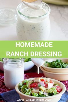 An all-purpose Homemade Ranch dressing made with simple ingredients and so good you'll never want to go back to the store-bought version. Use it for salads, as a dip, or with pizza- if that's your thing! Ranch Dressing Ingredients, Ranch Dressing Recipe, Homemade Ranch Dressing, Veggie Recipes, Cooking Recipes, Healthy Recipes, Avocado Recipes, Veggie Food, Dip Recipes
