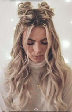 Cute Hairstyles For Teens, Easy Hairstyles For Long Hair, Teen Hairstyles, Pretty Hairstyles, Two Buns Hairstyle, Buns For Long Hair, Wedding Hairstyles, Thin Hair, Hairstyle Ideas