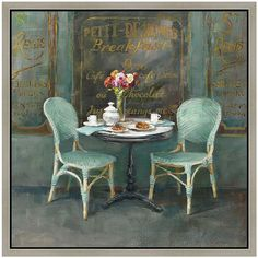 Vintage Paris Breakfast Table Framed Canvas Wall Art ($140) ❤ liked on Polyvore featuring home, home decor, wall art, backgrounds, art, furniture, green, vertical wall art, vintage home decor and green home decor