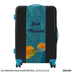 Just Married Ocean Coral Fish Newlywed Custom Luggage