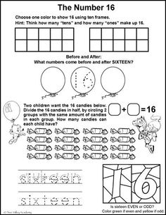 Free math printables for Kindergarten or Grade 1. A number study of 16, before and after, ten frames, odd or even, tracing sixteen, and dividing in half.
