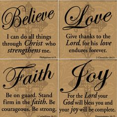 Believe Joy Faith Love Tile Coasters Set Of Four Housewares