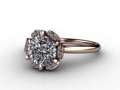 14kt Rose Gold Custom Floral Design with Round Diamond Center @VisionaryJewelers