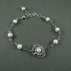 Srebrny Kot - bracelet 'Pearl Water Lily' - art clay silver