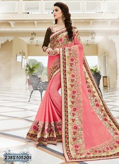 Versatile Peach Coloured Poly Georgette Embroidered Saree
