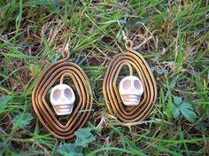Tete de mort. - pendants d oreilles - bijoux caro - Fait Maison