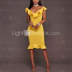 Feminino Tubinho Vestido, Para Noite Casual Sensual Simples Sólido Decote V Altura dos Joelhos Sem Manga Azul Rosa Amarelo Poliéster Verão de 2017 por R$54.05