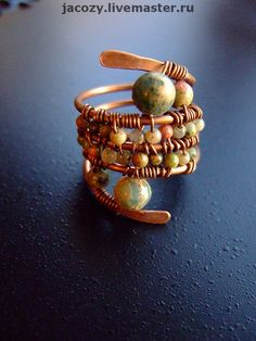 Link goes to what looks like a Russian shopping site. This is an amazing wire-wrapped ring, though. Wire Jewelry Rings, Copper Jewelry, Jewelery, Jewelry Art, Baubles And Beads, Beads And Wire, Handmade Rings, Handmade Jewelry, Handmade Copper