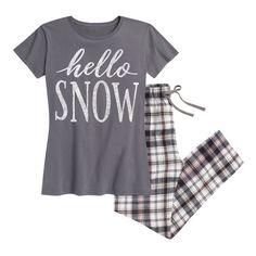 Women's Airwaves LLC Women's Holiday Tee and Flannel Pant Sleep Set... ($30) ❤ liked on Polyvore featuring intimates, sleepwear, pajamas, black, lounge & sleepwear, flannel pjs, flannel pyjamas, short sleeve flannel pajamas, flannel sleepwear and short sleeve pajamas