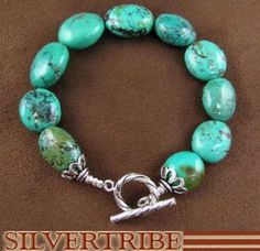 Turquoise Jewelry And Genuine Sterling Silver Bead Bracelet DS38005 $71.99