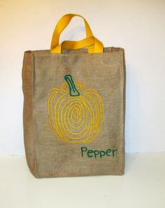 Yellow Pepper reusuable burlap market tote farmers bag by Apopsis