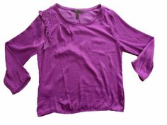 Bcbgmaxazria Bcbg Shoulder-ruffle Side-drape Luxe Satin Womens Top – Orchid Color « Impulse Clothes