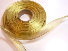 Gold Ribbon, Metallic Gold Wired Ribbon 5/8 wide x 10 yards, Offray Magic Wand Metallic Gold Ribbon, SECOND QUALITY FLAWED by GriffithGardens on Etsy