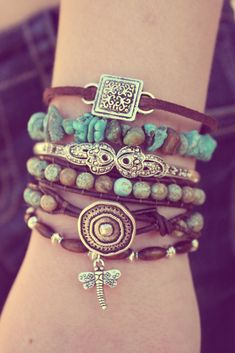"""Stacked boho bracelets.  Mix leather, stone, and metal.  Play with textures.  """"3 Strands"""" bracelets go great with the boho look!"""