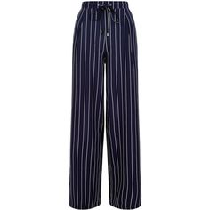 New Look Navy Stripe Wide Leg Trousers (250 GTQ) ❤ liked on Polyvore featuring pants, bottoms, blue pattern, navy blue pants, blue trousers, stripe pants, wide leg print pants and navy blue trousers